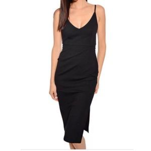 Mink Pink Black Midi Dress